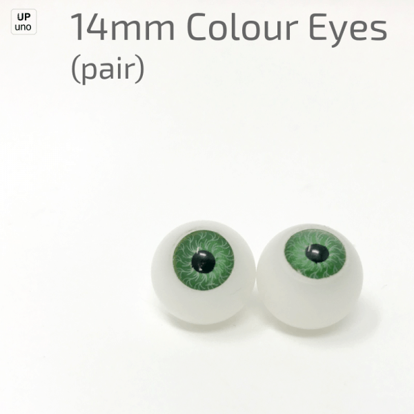 14mm Colour Eyes (pair) Green